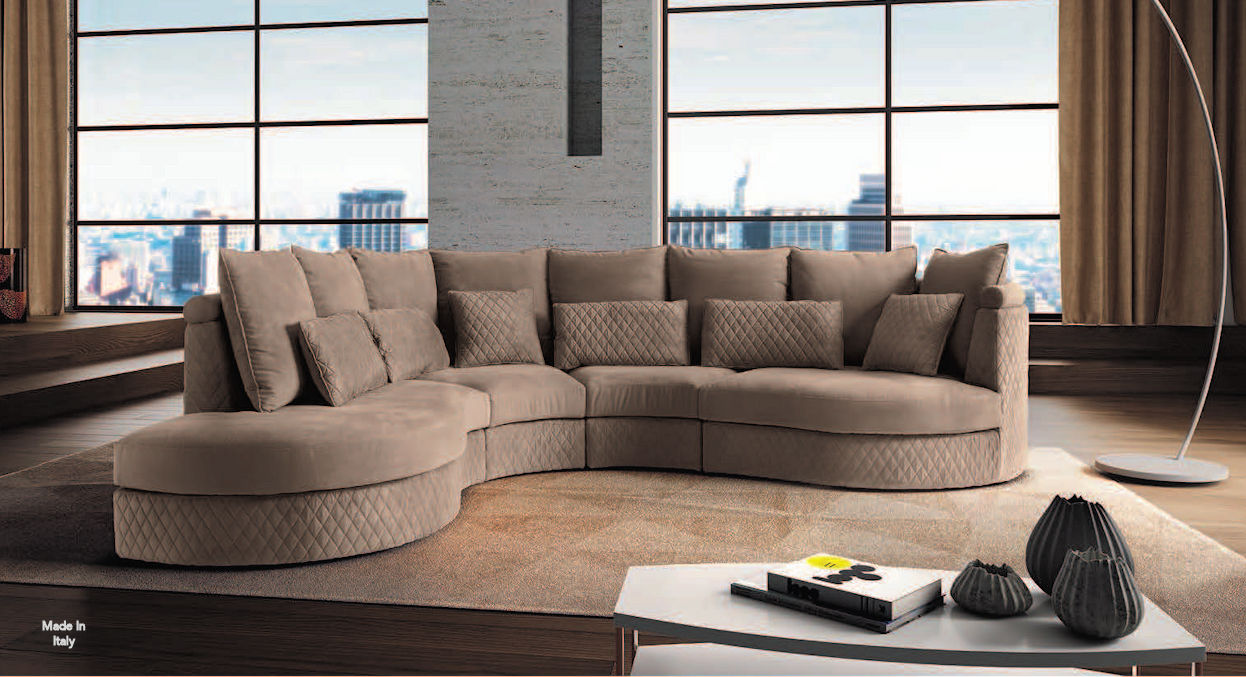 Italian Fabric Curved Sectional