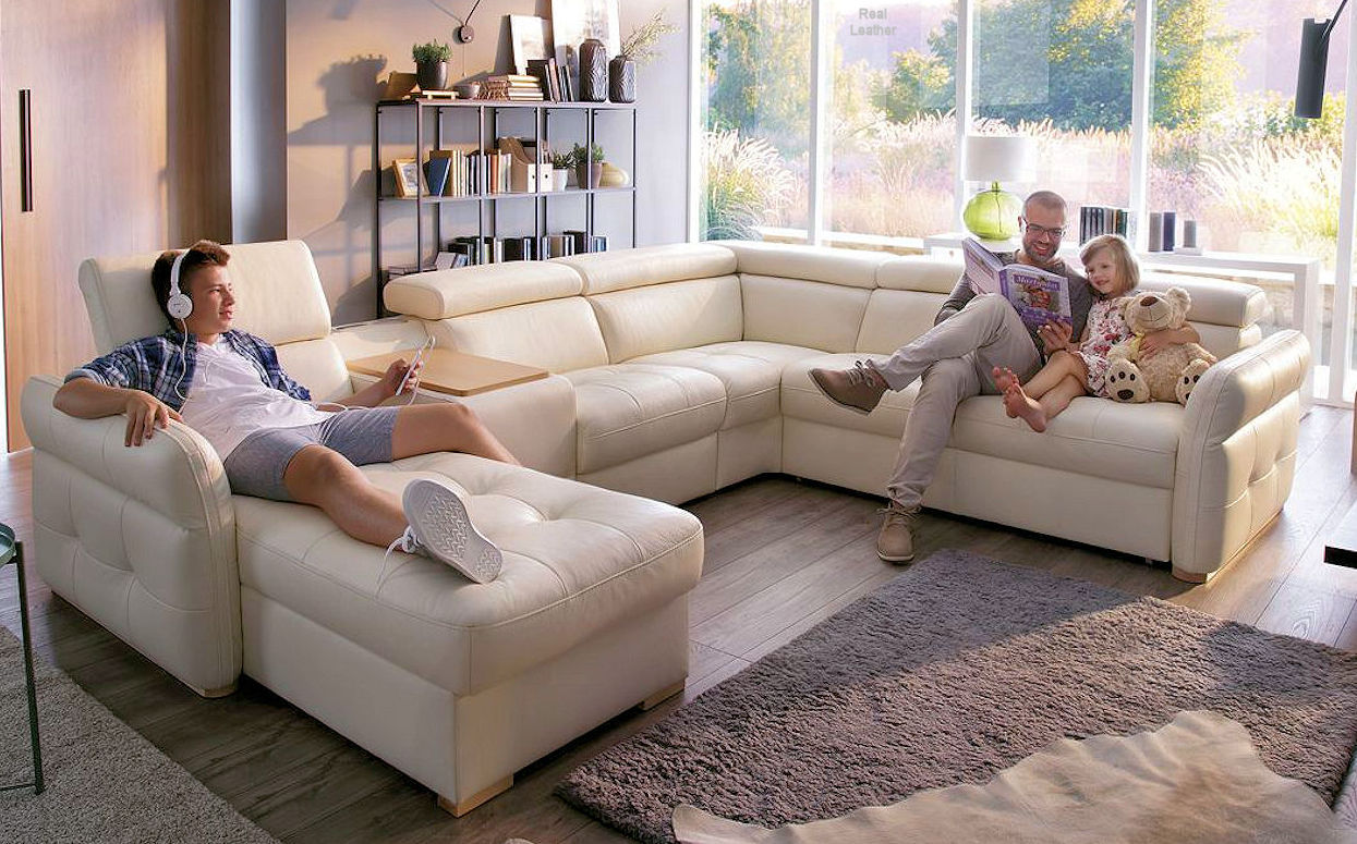 Real Leather Sectional Recliner