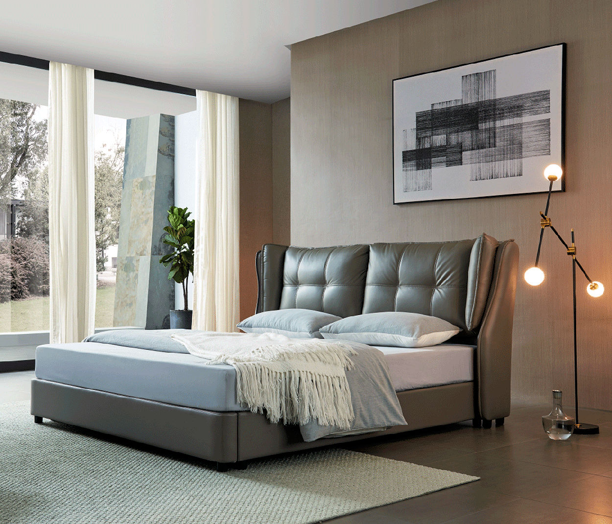 Leather Storage Bed