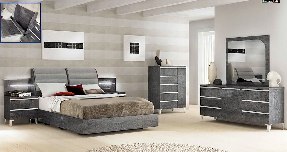 Contemporary Bedroom Set in Grey Finish