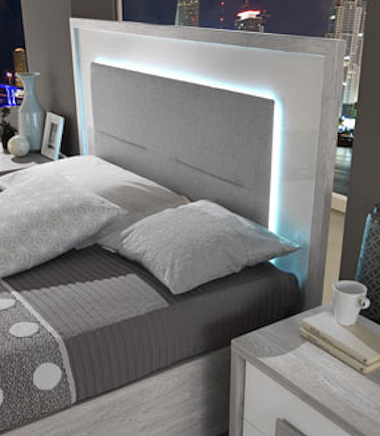 Contemporary Bed with Lighted Headboard