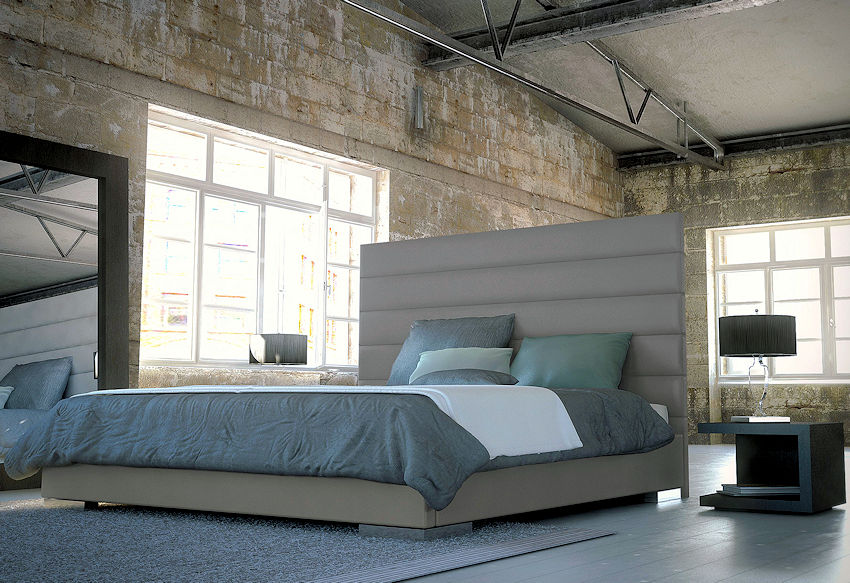 Contemporary Grey Leather Bed