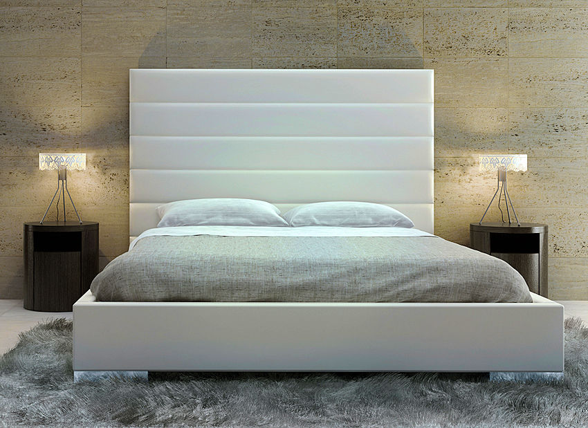 Contemporary White Leather Bed