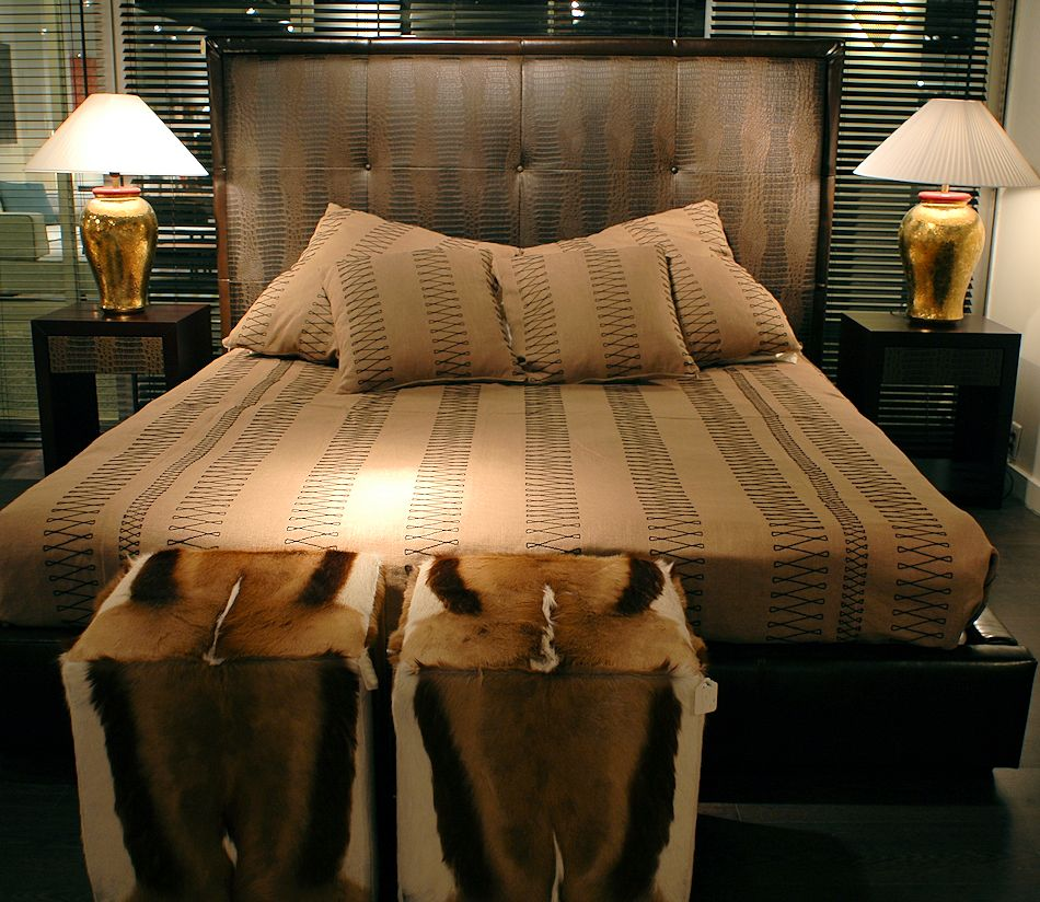 Italian Leather Wood Bed