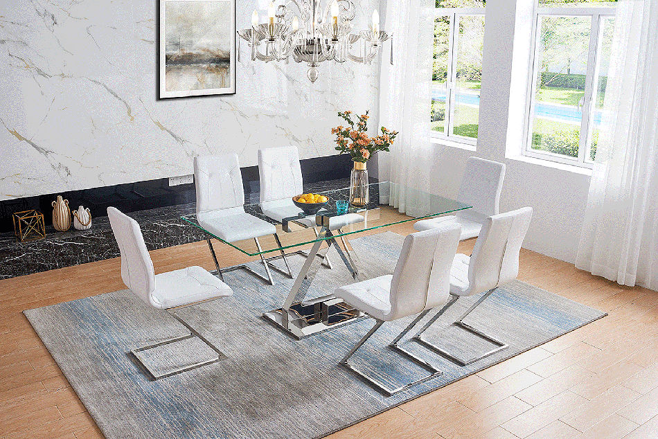 Contemporary Steel Base Dining Table