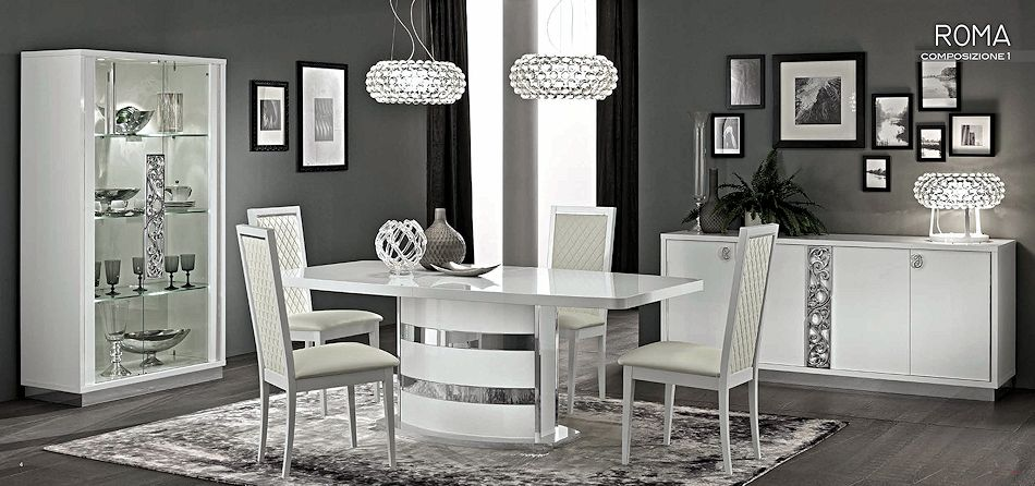 Contemporary White Dining Set