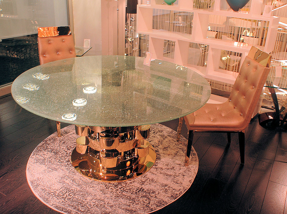 Luxury Gold Plated Base Dining Table
