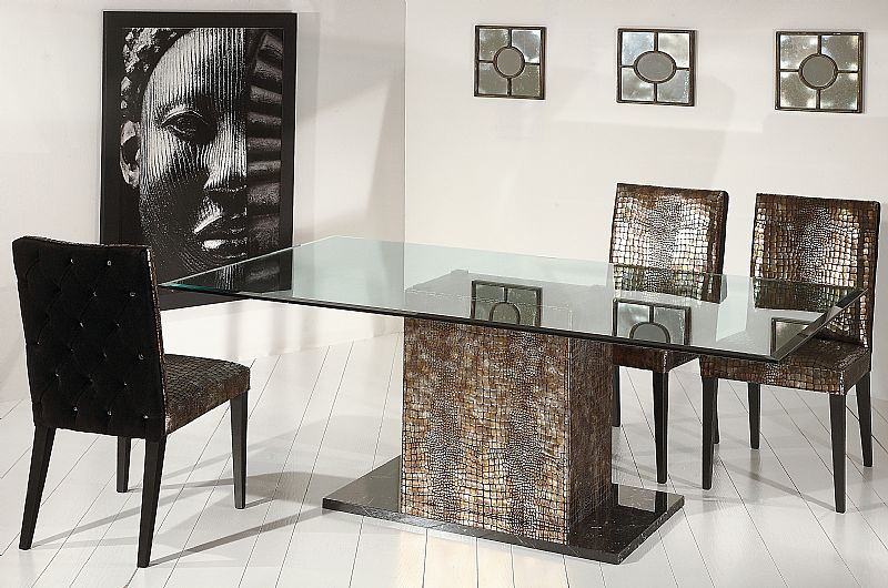 Contemporary Glass Top Dining