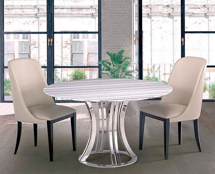 Contemporary Stone Round Dining Table