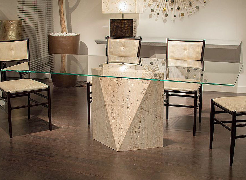 Contemporary Stone Base Dining Table