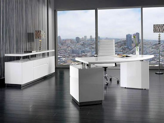 Contemporary White Home Office Set