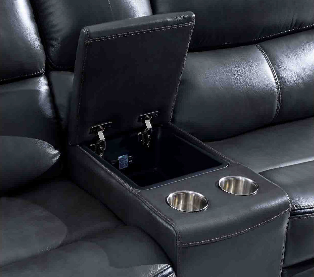 Leather Sectional With Cup Holder