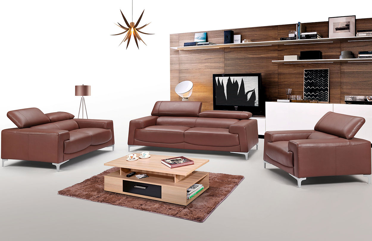 Contemporary Leather Sofa Set