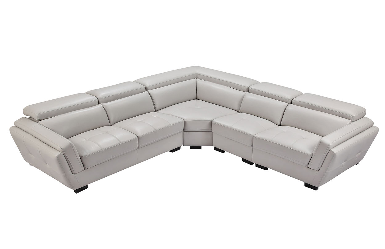Contemporary Grey Leather Sectional