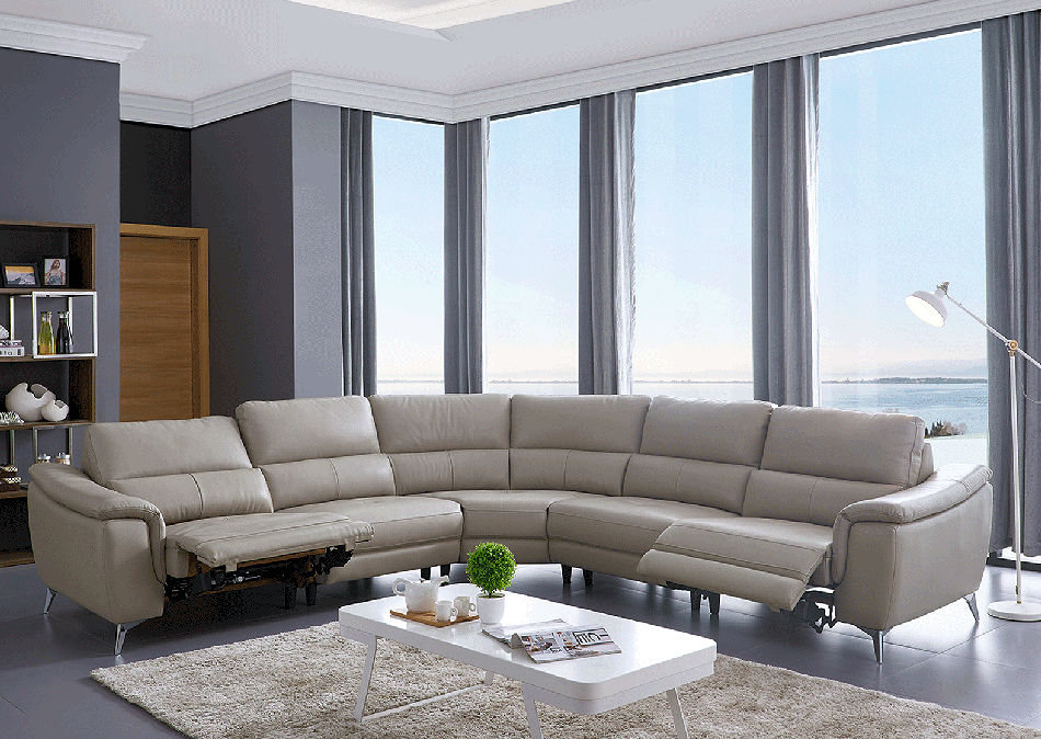 Contemporary Leather Recliner Sectional