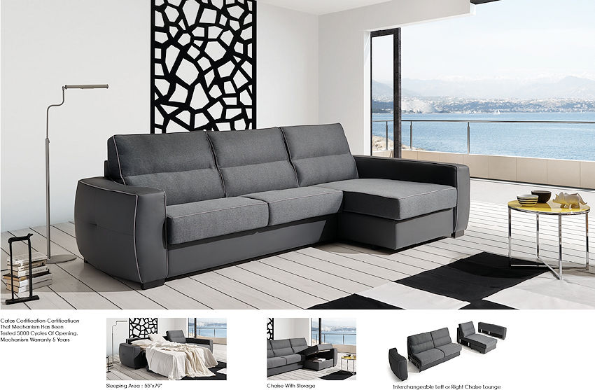 Contemporary Sleeper Sectional Grey