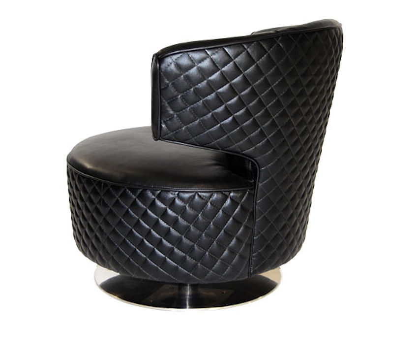 Contemporary Barrel Leather Chair