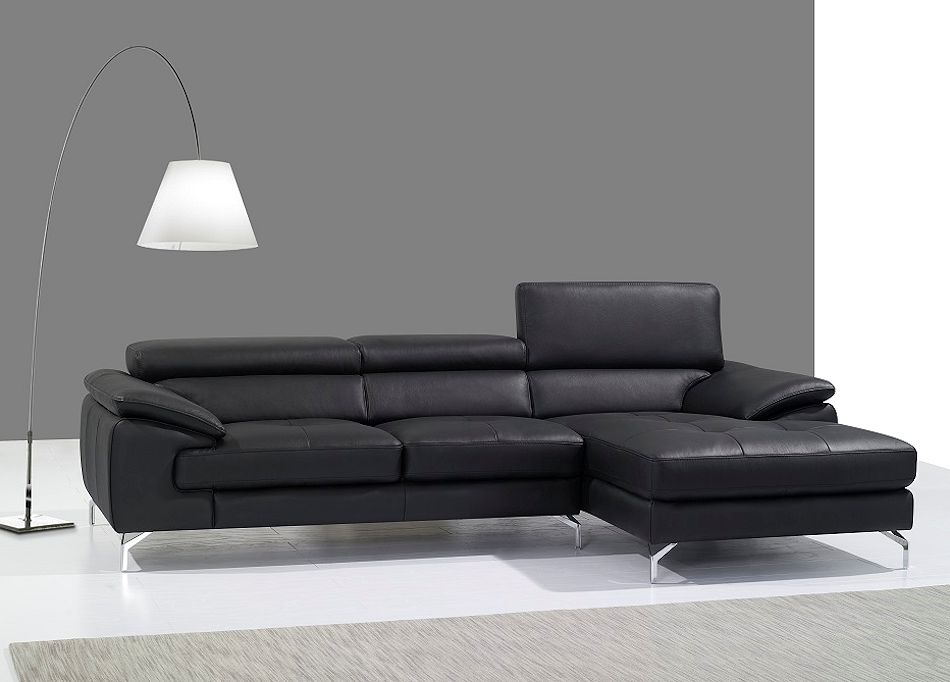 Modern Black Leather Sectional