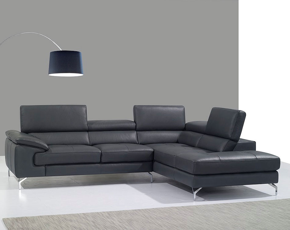 Modern Grey Leather Sectional