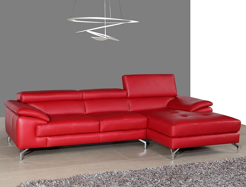 Modern Red Leather Sectional