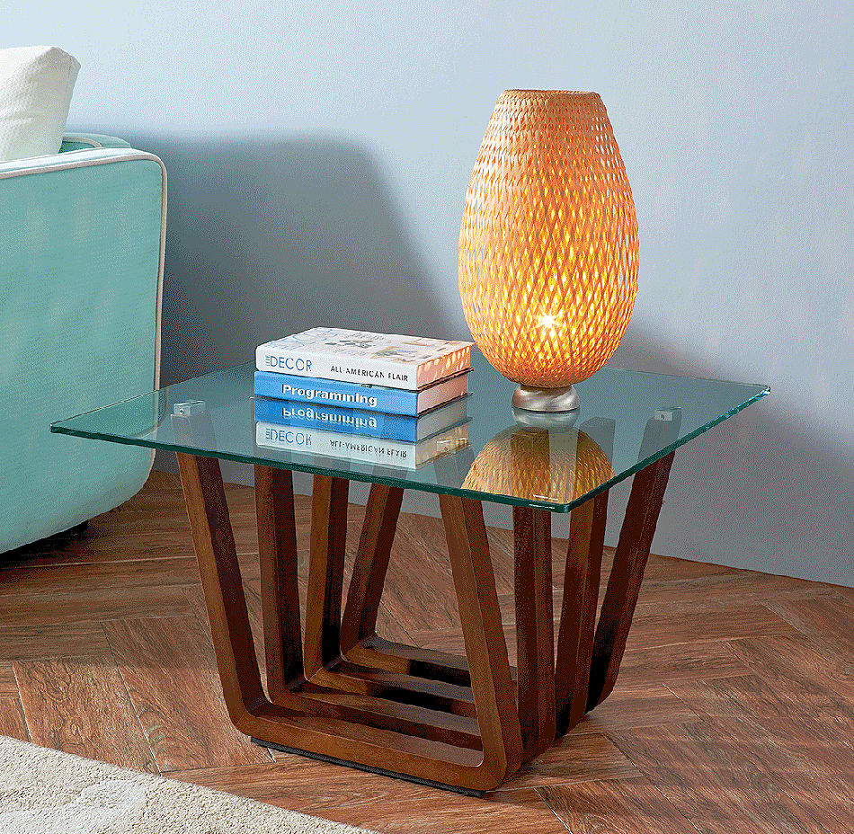 Contemporary Glass Top Coffee End Table
