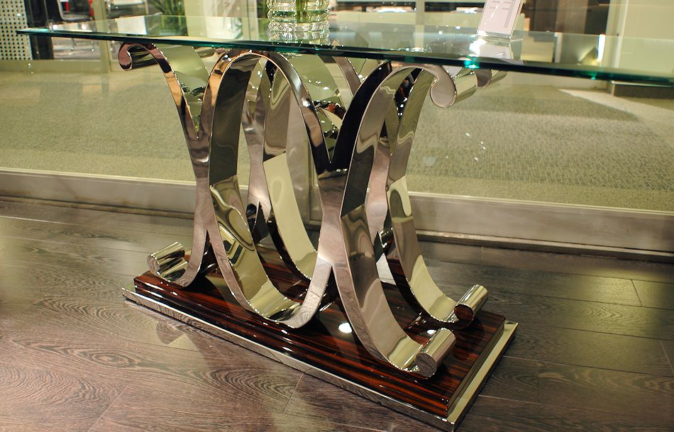 Modern Glass Top Console