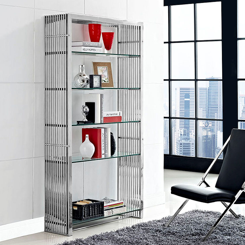 Modern Stainless Steel Bookcase