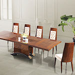Contemporary Burl Wood Dining Set
