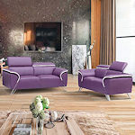 Contemporary Purple Leather Sofa Set